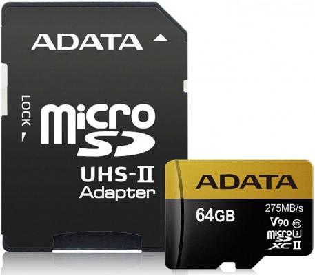 Флеш карта microSD 64GB A-DATA Premier ONE microSDXC Class 10 UHS-II U3 V90 275MB/s (SD адаптер) a data aamsdsd microsd sd