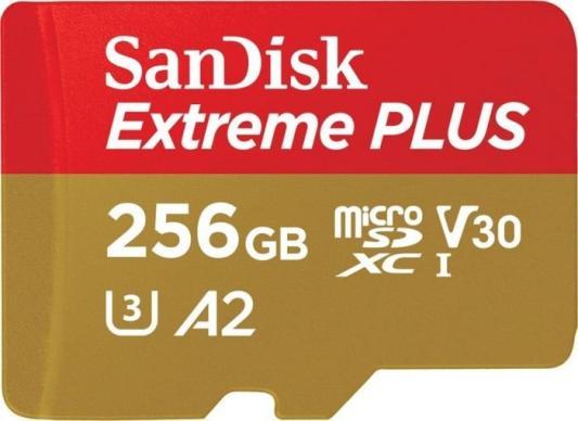 Фото - Флеш карта microSD 256GB SanDisk microSDXC Class 10 UHS-I A2 C10 V30 U3 Extreme Plus (SD адаптер) 170MB/s карта памяти sandisk extreme plus microsdxc class 10 uhs class 3 v30 a2 170mb s 256gb sd adapter