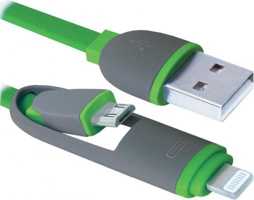 все цены на Кабель Lightning microUSB 1м Defender USB10-03BP плоский зеленый 87489 онлайн