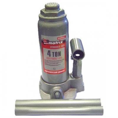цена на Домкрат MATRIX 50754 гидравлический бутылочный 4 т h подъема 194–372мм в пласт. кейсе master
