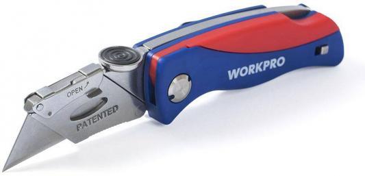 купить Нож WORKPRO W011009 строительный складной 165мм нержавеющая сталь с 5 запасными лезвиями по цене 740 рублей