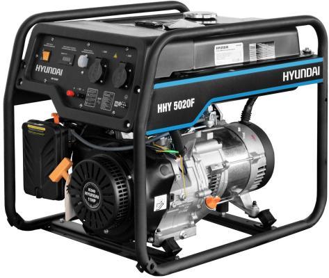 HYUNDAI [HHY 5020F] Генератор бензиновый { Запуск ручной, HYUNDAI IC340, 4-х такт, 11 л.с., 340 см3, 230В/50Гц, 4,5 кВт/nom 4,0кВт, Вес 69,5 кг } генератор hyundai hhy 7000fge