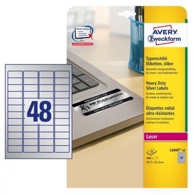 Этикетки Avery Zweckform L6009-20 A4 45.7x21.2мм 48шт на листе/198г/м2/20л./серебристый самоклей. для лазерной печати пленка avery zweckform 2503 a4 196г м2 10л прозрачный самоклей для лазерной печати