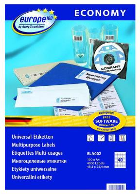 Этикетки Europe100 ELA002-100 ELA002 A4 48.5x25.4мм 40шт на листе/70г/м2/100л./белый матовое самоклей. универсальная этикетки europe100 ela008 100 ela008 a4 64 6x33 8мм 24шт на листе 70г м2 100л белый матовое самоклей универсальная