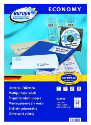 цены Этикетки Europe100 ELA008-100 ELA008 A4 64.6x33.8мм 24шт на листе/70г/м2/100л./белый матовое самоклей. универсальная