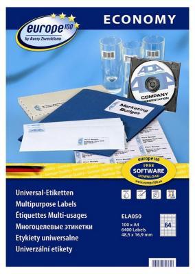 Этикетки Europe100 ELA050-100 ELA050 A4 48.5x16.9мм 64шт на листе/70г/м2/100л./белый матовое самоклей. универсальная этикетки europe100 ela050 100 ela050 a4 48 5x16 9мм 64шт на листе 70г м2 100л белый матовое самоклей универсальная