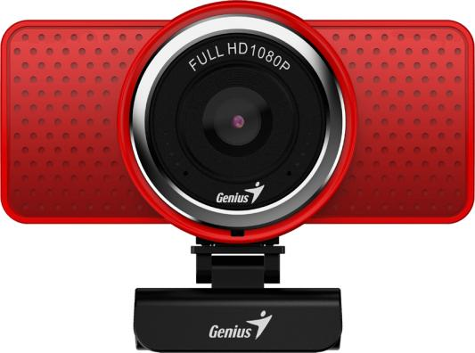 Веб-Камера Genius ECam 8000, red, Full-HD 1080p swiveling, tripod-ready design, USB, built-in microphone, rotation 360 degree, tilt 90 degree драйвера для веб камеры genius