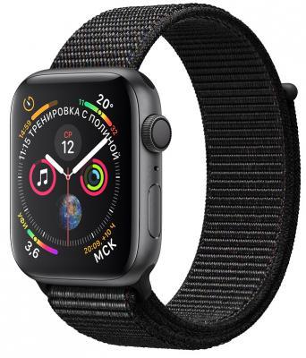 Apple Watch Series 4, 44 мм, корпус из алюминия цвета «серый космос», спортивный браслет чёрного цвета [MU6E2RU/A] умные часы apple watch series 4 44 мм корпус из золотистого алюминия спортивный браслет цвета розовый песок