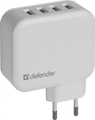 Сетевое зарядное устройство Defender UPA-60 6.2A белый 83544 сетевое зарядное устройство defender upa 40 5а 4 x usb черный