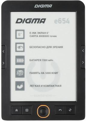 "Электронная книга Digma E654 6"" E-Ink Carta 800x600 600MHz/4Gb/microSDHC графит [1066710] электронная книга gmini magicbook s6lhd 6 e ink pearl hd 4gb белый"