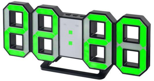 "Perfeo LED часы-будильник ""LUMINOUS"", черный корпус / зелёная подсветка (PF-663)"