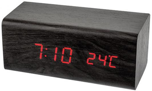 Perfeo LED часы-будильник Block, чёрный корпус / красная подсветка (PF-S718T) время, температура