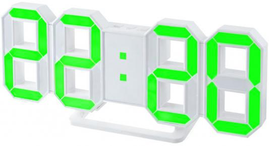 "Perfeo LED часы-будильник ""LUMINOUS"", белый корпус / зелёная подсветка (PF-663)"