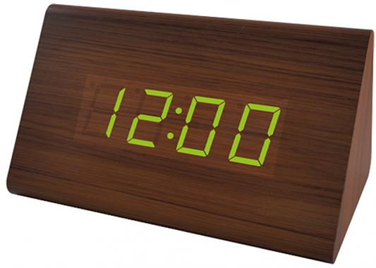 Perfeo LED часы-будильник Trigonal, коричневый корпус / зелёная подсветка (PF-S711T) время