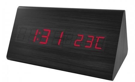 Perfeo LED часы-будильник Pyramid, чёрный корпус / красная подсветка (PF-S710T) время, температур