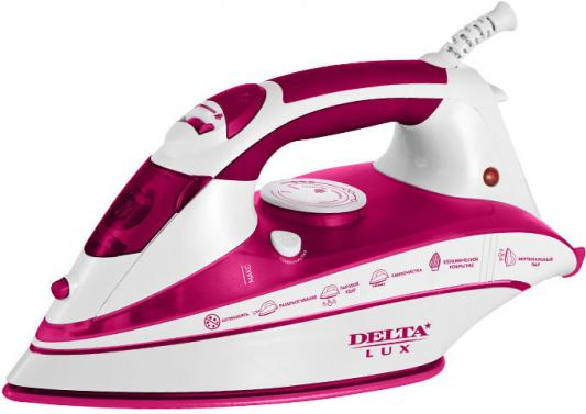 Утюг DELTA LUX DL-556 белый с малиновым цена