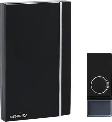 Звонок на батарейках МЕЛОДИКА Б812 черный беспроводной 32 мелодии, влагозащищенная кнопка звонок tdm electric народный беспроводной 32 мелодии белый