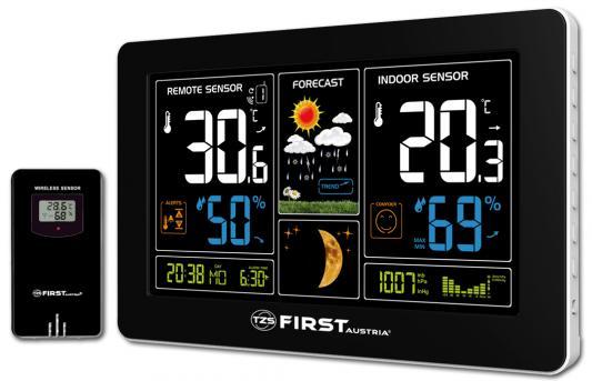 2461-4 Метеостанция FIRST, цветной LED-диспл., USB-зарядка устройств, беспроводной датчик.Черный