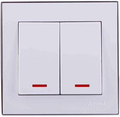 Выключатель LEZARD 703-0225-112 серия скр.проводки Рейн двойной подсветка белый с хромовой вставко