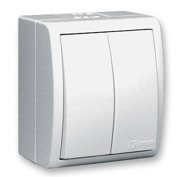 Фото - Выключатель SIMON 15 Aqua 1594398-030 2-клавишный белый наружный IP54 механизм розетки simon 15 tv сп одиночная цвет белый 1591475 030