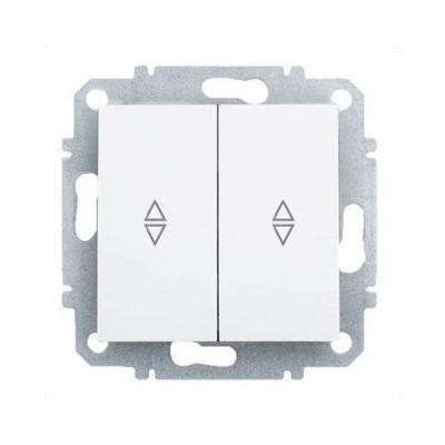 Переключатель ZAKRU 602431 BIEN двухклавишный (проходной) (Т.Белый) 230В/50Гц 10А
