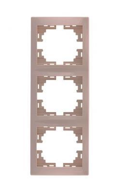 Рамка LEZARD 701-0300-153 серия Мира 3-ая вертикальная б/вст кремовый со вст.