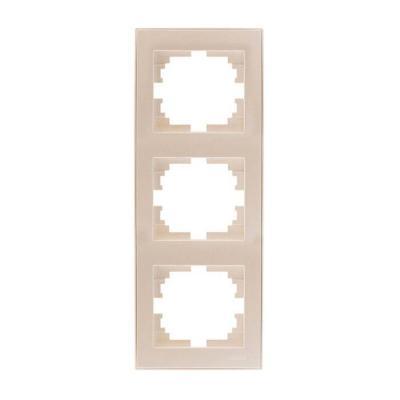 Рамка LEZARD 703-3030-153 серия Рейн 3-ая вертикальная жемчужно-белый