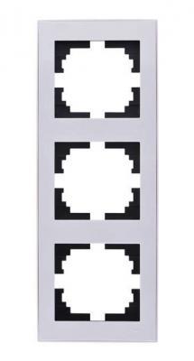 Рамка LEZARD 703-0202-153 серия Рейн 3-ая вертикальная белый с белой вставкой