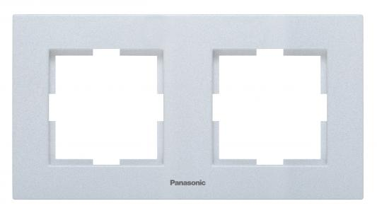 Рамка PANASONIC WKTF0802-2SL-RES Karre Plus 2м горизонтальная серебро механизм выключателя panasonic wktt0010 2sl res karre plus 2кл с подсветкой серебро