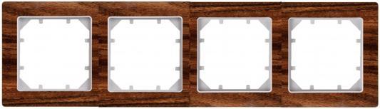Рамка ZAKRU 602721 CLASICO MADERA 4 поста (темное матовое дерево) пластик цена