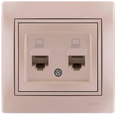 Розетка LEZARD 701-3030-141 серия скр.проводки Мира компьютерная двойная жемчужно-белый перламутр