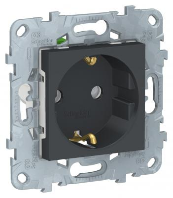цена Розетка SCHNEIDER ELECTRIC NU505754 unica new с заземл. со шторками с быстрозаж. клеммами антрацит онлайн в 2017 году