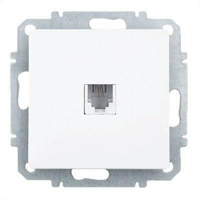 Розетка ZAKRU 600338 CLASICO телефон (Белый) 150В 6P2C телефон