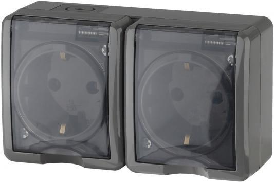 Розетка ЭРА 11-2404-03 2х2P+E IP54, шторки, 16A-250В, ОУ, серый