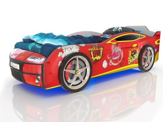 Кровать-машина 160х70см с подсветкой дна и фар Romack Kiddy (красный бум) кровать машина 160х70см с подсветкой дна и фар romack kiddy синий пазл