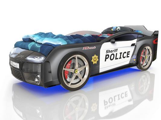Кровать-машина 160х70см с подсветкой дна и фар Romack Kiddy (полиция) кровать машина 160х70см с подсветкой дна и фар romack kiddy синий пазл