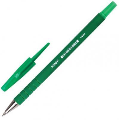Ручка шариковая STAFF, корпус прорезиненный зеленый, узел 0,7 мм, линия письма 0,35 мм, зеленая, 142400 ручка шариковая пластиковый желтый корпус 0 5мм зеленая