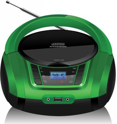 Аудиомагнитола Hyundai H-PCD360 черный/зеленый 4Вт/CD/CDRW/MP3/FM(dig)/USB/BT/SD/MMC/microSD mystery аудиомагнитола mystery bm 6101 серый 4вт cd cdrw mp3 fm an