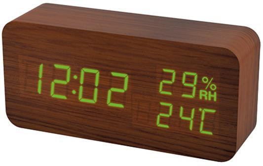 "Perfeo LED часы-будильник ""Wood"", коричневый корпус / зелёная подсветка (PF-S736) время, температур"