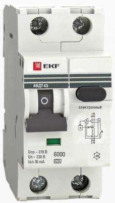 Выключатель EKF DA63-16-30 авт. диф. тока 1п+n 2мод. c 16а 30мА тип ac 6ка авдт-63 proxima картридж easyprint ih 563 аналог ch563he черный для hp deskjet 1050 2050 3000 3050 3050a