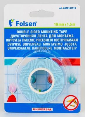 Лента для монтажа FOLSEN 19мм х 1,5м x 1,1мм, белая, вспененный РЕ