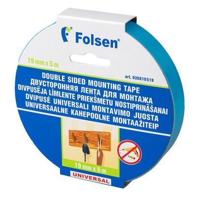 Лента для монтажа FOLSEN 19мм х 5м x 1,1мм, белая, вспененный РЕ
