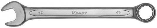 Ключ комбинированный KRAFT КТ 700513 (19 мм) хром-ванадиевая сталь (Cr-V) ключ комбинированный kraft 16 мм кт 700510