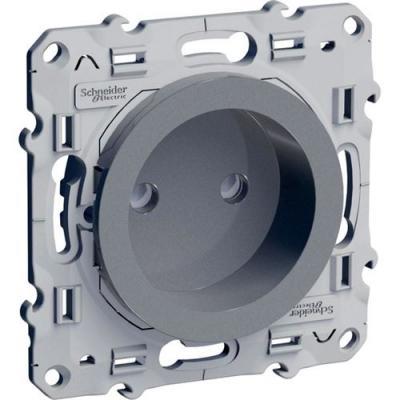 Купить Механизм розетки SCHNEIDER ELECTRIC 270101 Odace 1-м СП с заземл. защ. шторки алюм. S53R037, алюминий