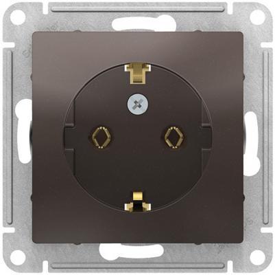 Механизм розетки SCHNEIDER ELECTRIC ATN000643 1-м сп atlas design с заземл. 16а мокко