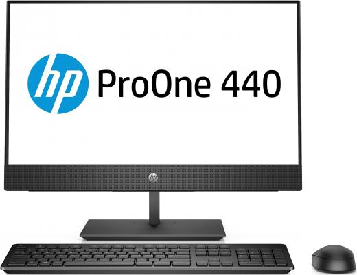 Моноблок HP ProOne 440 G4 23.8 Full HD i3 8100T (3.1)/4Gb/1Tb 7.2k/UHDG 630/DVDRW/Windows 10 Home Single Language 64/GbitEth/WiFi/BT/клавиатура/мышь/черный 1920x1080 моноблок hp proone 400 g2 20 hd p g4400t 2 9 4gb 500gb 7 2k hdg510 dvdrw windows10 single language 64 eth wifi bt 90w клавиатура мышь cam черный