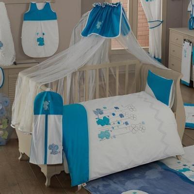 Постельный сет 6 предметов KidBoo Elephant (blue) постельный сет 6 предметов kidboo little farmer blue