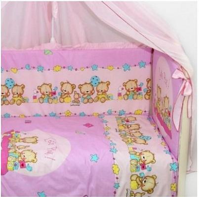 Постельный сет 7 предметов Labeillebaby Давай поиграем (розовый) комплект в кроватку bombus давай поиграем 7пр розовый