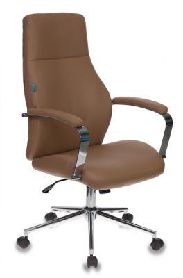 Кресло руководителя Бюрократ T-703SL/CAMEL светло-коричневый искусственная кожа крестовина хром кресло руководителя бюрократ kb 10 walnut черный искусственная кожа крестовина металл
