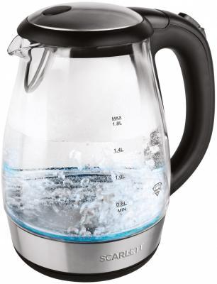 Чайник электрический Scarlett SC - EK27G56 1.7л. 2200Вт черный (корпус: стекло) электрический чайник scarlett sc ek18p15